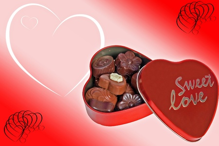 Heart of chocolates on Valentine's background photo
