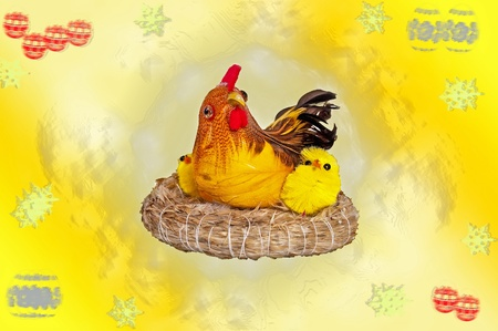 Easter hen with chicks on holiday background photo