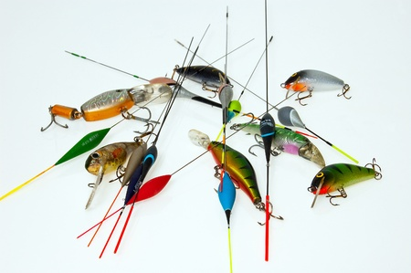 Fishing lures isolated on white Stock Photo