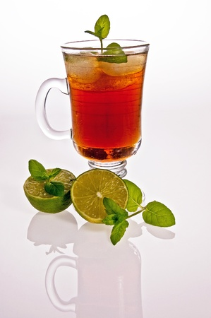 iced tea and lime with a mirrored photo