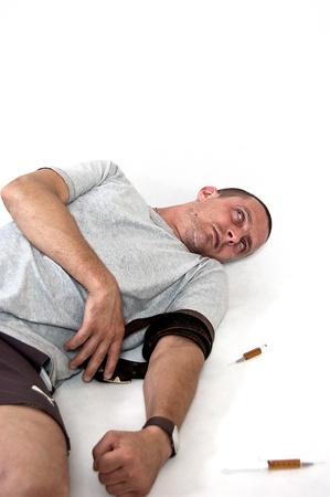 drug overdose on a white background photo