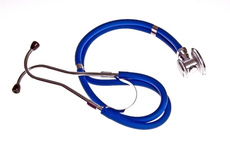 Blue stethoscope on a white background