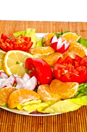 Mix vegetables and fruit for your breakfast Stock Photo