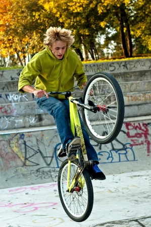 Bike acrobatic show with special ramps Stock Photo