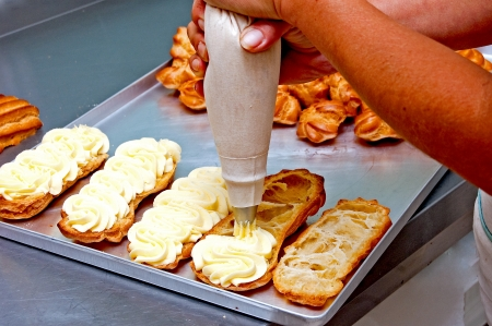 Production of biscuits in the confectionery plant, studded cream muffins