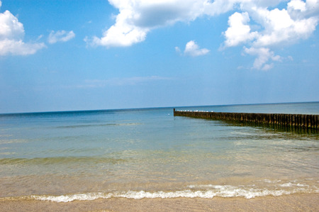 Sea landscape with blue sky and beautiful clouds.
