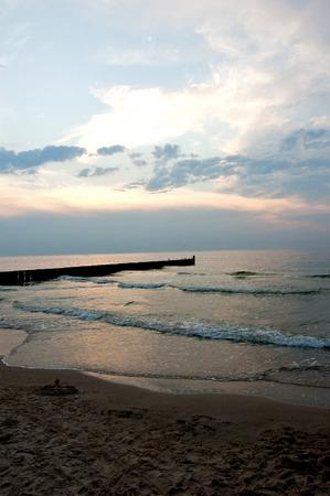 Sea landscape with a beautiful setting sun