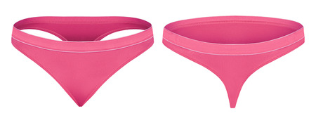 Pink thongs front and back isolated on white Stock Photo
