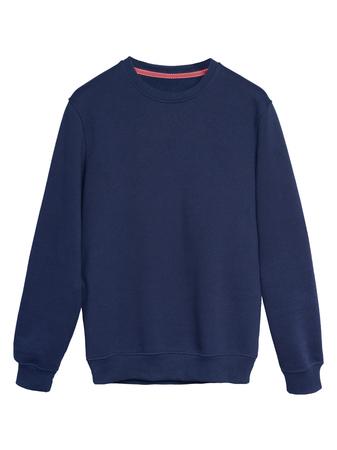 ネイビー ブルーのスウェット シャツが白で隔離