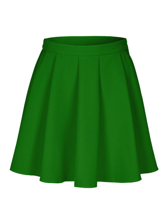 Green flounce skirt on invisible mannequin isolated on white