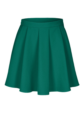 Sea color green-blue flounce skirt on invisible mannequin isolated on white Stock Photo