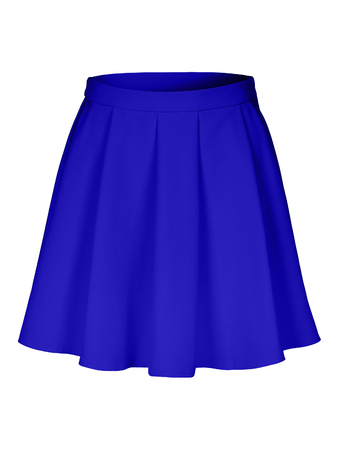 Blue flounce skirt on invisible mannequin isolated on white Stock Photo