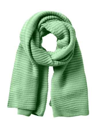 Green winter scarf isolated on white