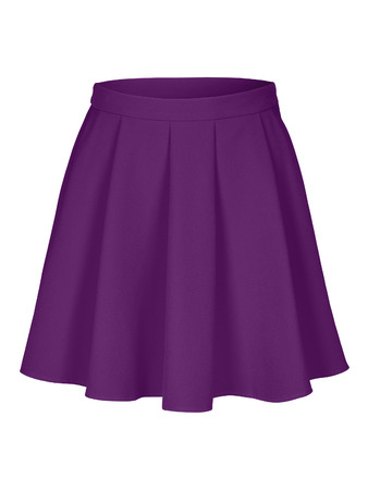 Violet flounce skirt on invisible mannequin isolated on white Stock Photo