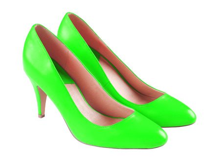 4594b399c8 Spike light green leather high heels isolated on white
