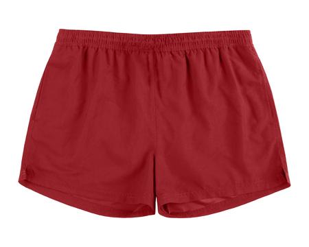 Men burgundy swim sport beach shorts trunks isolated on white Stock Photo
