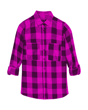 Pink checkered shirt with collar and buttons isolated on white