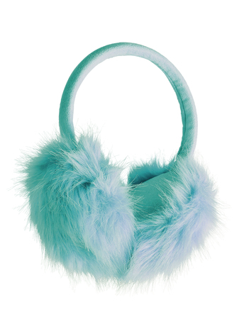 Sea color green blue fluffy furry earmuffs isolated on white