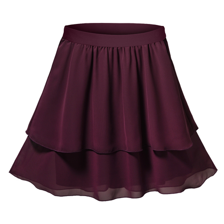 Dark violet pleated two parts skirt isolated white