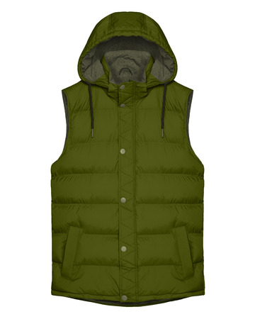 Khaki sleeveless vest with hood isolated on white