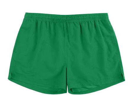 Men green swim sport beach shorts trunks isolated on white