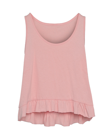 Light pink women summer blank sleeveless t-shirt with flounce isolated on white