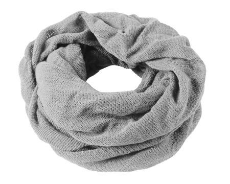 Gray soft winter snood scarf isolated on white