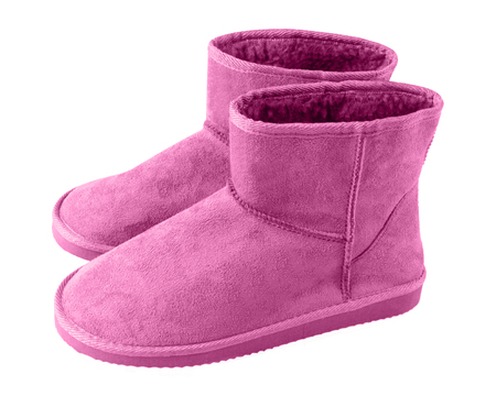 Pink pair of short winter ugg boots isolated white