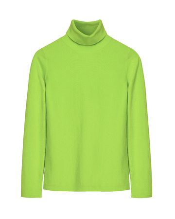Chartreuse green winter autumn warm turtleneck isolated