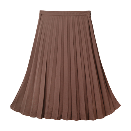 Brown pleated midi skirt isolated on white