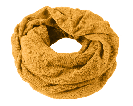 Orange soft winter snood scarf isolated on white