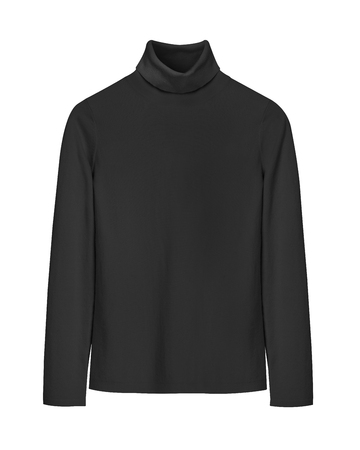 Black turtleneck classic jersey isolated