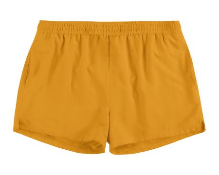 Men orange swim sport beach shorts trunks isolated on white