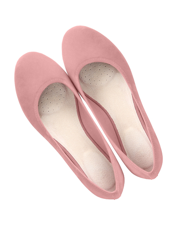 Pale rose pink glamour suede comfortable summer ballerina shoes top view isolated white