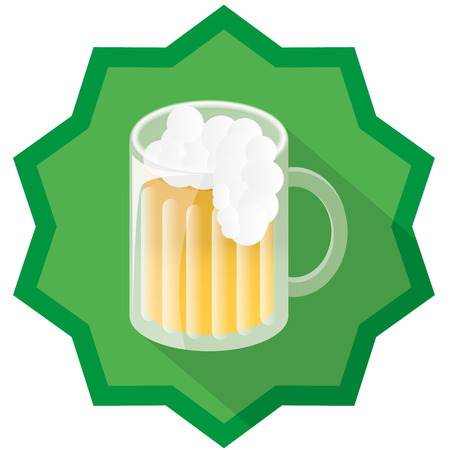brewery  hops: beer badge illustration with green background and drop shadow Illustration