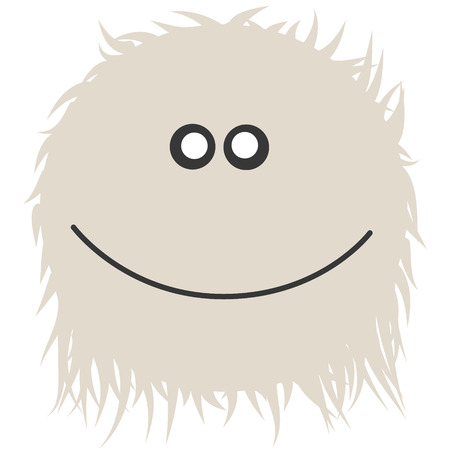 smiling yetti illustration with fur and smile