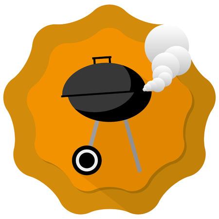 gril: barbecue gril illustration with orange badge background Illustration