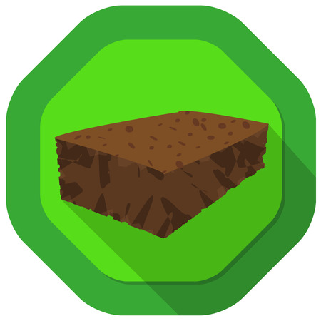 brownie: brownie illustration  with green background and drop shadow
