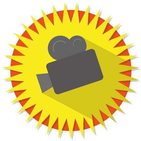 camara de cine: Ilustraci�n de la c�mara de cine en un fondo de estrellas