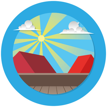terrace: rooftop terrace illustration with sun and clouds