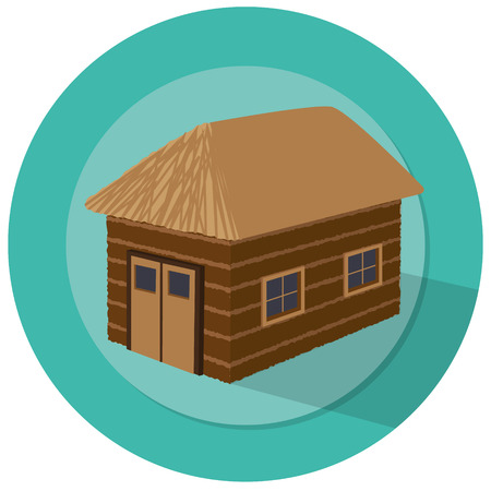 barn illustration with windows and green badge background Vector
