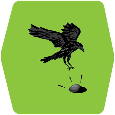 clam illustration: crow and clam illustration Illustration