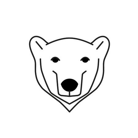 polar bear: polar bear black line illustration with white background