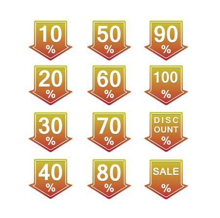 붉은 오렌지 할인 가격 태그 그림 화살표와 퍼센트