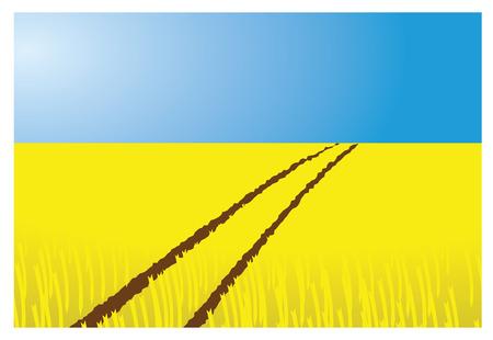 bála: búzamezőn vektoros illusztráció traktor pálya és a kék ég