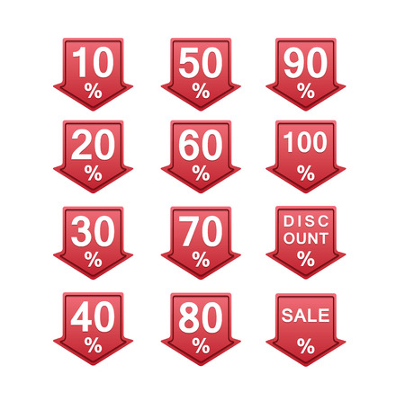 ninety: red discount price tag illustration with arrows and percents