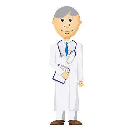 stetoscope: doctor vector illustration with stetoscope, papers and grey hair Illustration