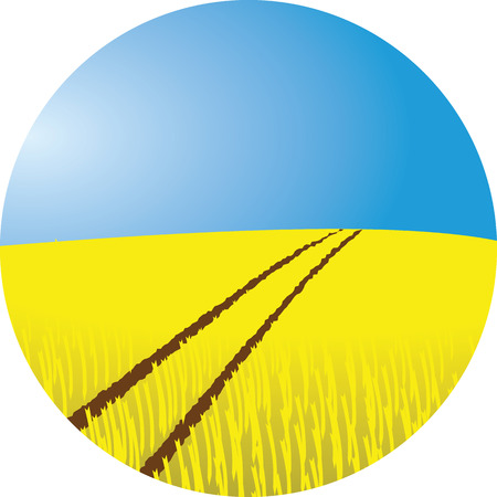 hay bale: wheat field illustration with tractor tracks and blue sky Illustration