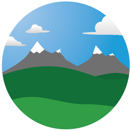 mountain illustration with forests and snow and sky with clouds