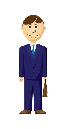 茶髪: 青のジャケット、靴、茶色の髪を持つビジネスマン イラスト